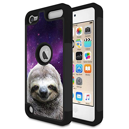 iPod Touch 6 Case,Touch 5 Case,Rossy Heavy Duty Hybrid TPU Plastic Dual Layer Armor Defender Protection Case Cover for Apple iPod Touch 5/6th,Galaxy Hipster Sloth