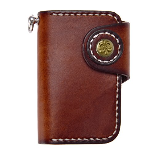 ZLYC Handmade Leather Key Holder Wallet with Six Keychains and Tow Card Slots (Dark Brown)