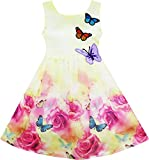 HY23 Girls Dress Rose Flower Print Butterfly Embroidery Purple Age 6 Years