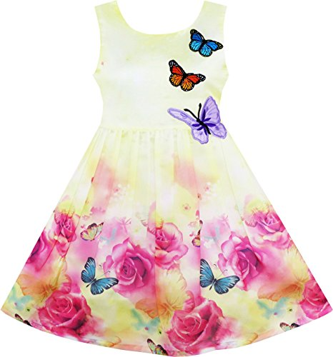 - Sunny Fashion HY25 Girls Dress Rose Flower Print Butterfly Embroidery Purple Size 8