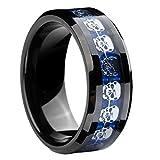8mm Black Blue Tungsten Carbide Ring Silver Skull Skeleton Inlay Wedding Band Men Jewelry Size 10.5