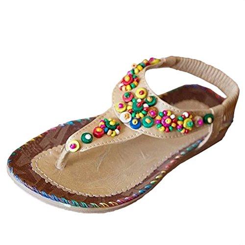Scothen Zapatos las sandalias de las mujeres correa del tobillo romana Trenzado T-Correa Gladiador correa de los planos clip sandalias de punta zapatillas de playa del flip-flop de las mujeres Amarillo