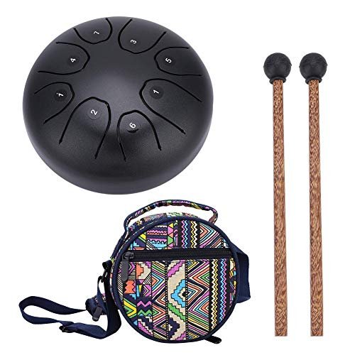 SolUptanisu 5.5 Inch Steel Tongue Drum, Hang Drum Tank Drum Mini Handpan Drum Tank Drum Percussion Instrument with Mallets Carrying Bag for Beginners Children Music Education(Coffee)