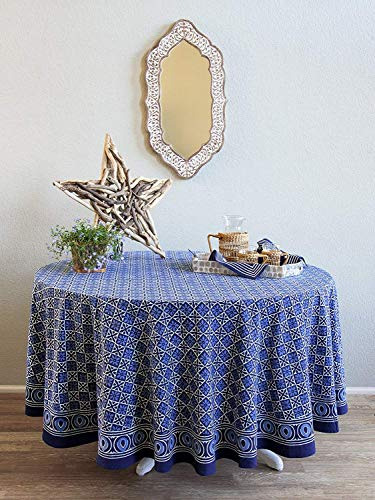 Saffron Marigold Starry Nights ~ Designer Batik Blue Round India Tablecloth 90 Round
