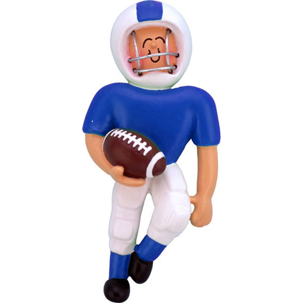 Personalized Playing Football Boy Christmas Ornament for Tree 2018- Team Man Athlete in Blue Uniform Helmet Running Score Profession Hobby Goal - School Coach Grand-Son - Free Customization by Elves
