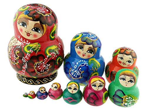 Winterworm Beautiful Red Crooked Head Little Girl Colorful Varnished Handmade Wooden Russian Nesting Dolls Matryoshka Dolls Set 10 Pieces for Kids Toy Birthday Home Decoration