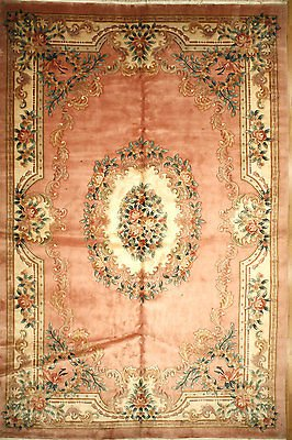 - 12 x 18 Hand Knotted Oriental Rug Chinese AUBUSSON Pink/Ivory