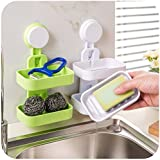 PETRICE Plastic Double Layer Soap Dish Suction Cup Wall Tray (Colour May Vary)