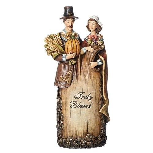 Roman Pilgrims with Thanksgiving Harvest Pumpkin Truly Blessed Tree Trunk Resin Figurine 12