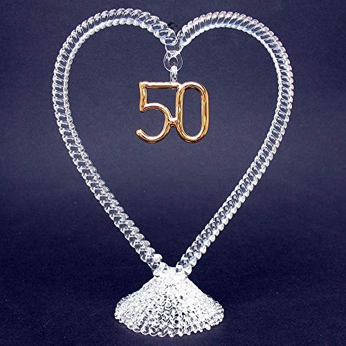 50th Anniversary Wedding Cake Topper of Hand Blown Glass ()