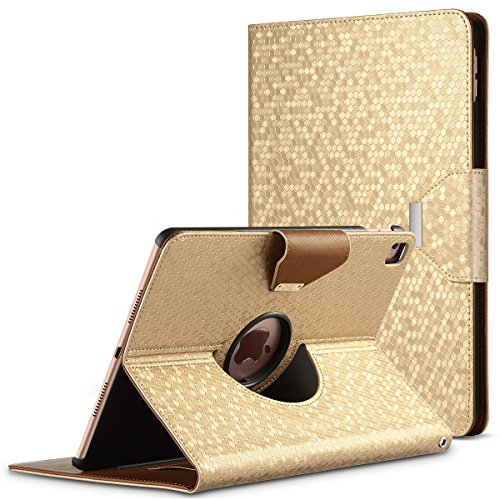 iPad Pro 9.7 Case,iPad Pro 9.7 inch Case - ULAK iPad Pro 9.7 Smart Case Cover 2016 Release Tablet [Folio] 360 Rotating Synthetic Leather Wallet [Auto Wake] Back Protector Stand (Gold) (Ulak Apple Ipad Air Case Gold)