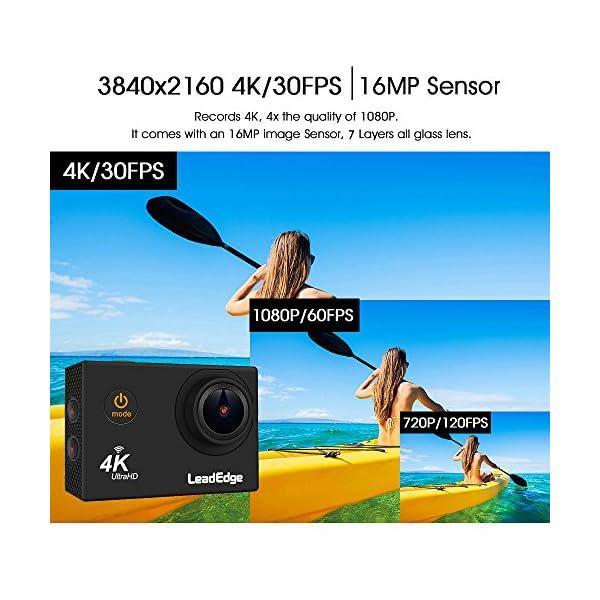 LeadEdge LE5000 Action Camera Ultra HD 4K/30FPS 1080P/60FPS 720P/120FPS  16MP WiFi Waterproof DV Sports Video Cameras Underwater Cam 2 4G Remote