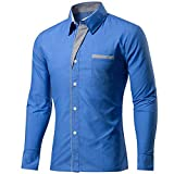 KINDOYO Personalidad de los hombres Casual Slim camisa de manga larga Chaqueta Blusa Top S-4XL