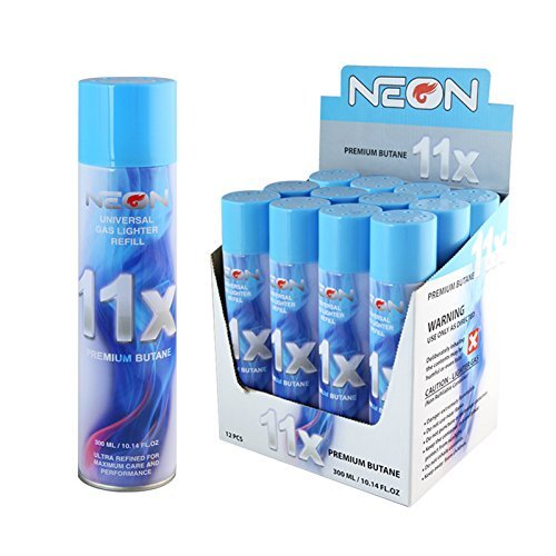 12 Cans Of Neon 11x Ultra Refined Butane Fuel Lighter