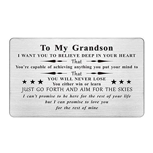 Grandson Wallet Card, Engraved Wallet Insert For Grandson, To My Grandson Gifts from Grandma Grandparents, Air Force Grandson, Birthday Gifts, Fathers Day