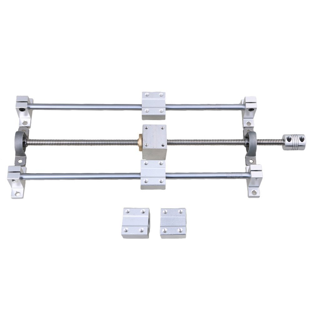 Horizontal Silver Dual Rail Guide Support 300mm Length Optical Axis /& 350mm 2mm T8 Lead Screw Set