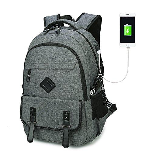 Rucksack mit USB Ladeanschluss, Marsoul 15 Zoll Business Laptop Schulrucksack (Grau) 8080grau