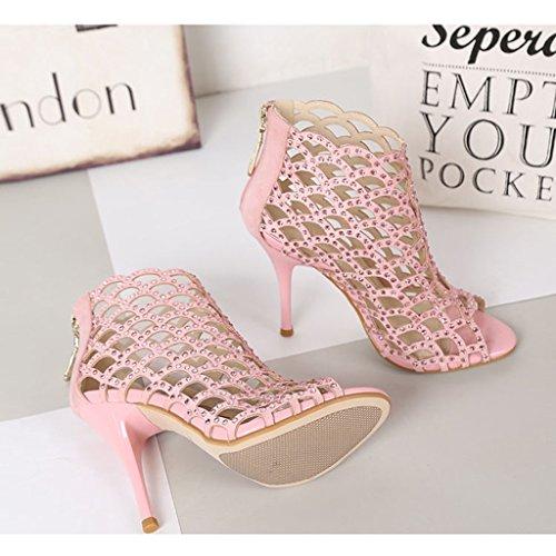 Talons Rose 5 Mariage Mesdames Chaussures Sexy Couleur 240mm Creuses Sandales US6 10cm female de Hauts 38 shoes 8cm de Height Banquet Height Single UK5 Taille 5 qwCROtO