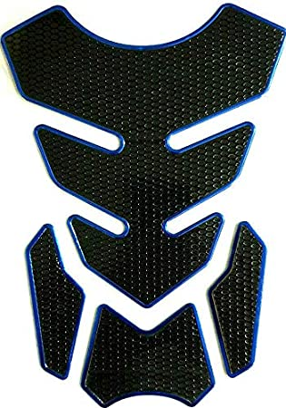 Tankpad Tankschutz Motorrad Carbon Optik Blau Schwarz Universal Auto