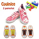 Coolnice® 2 Pairs No Tie Shoelaces for Kids Funny DIY 2*12pcs- Elastic Stretch Environmentally Safe silicone - Lazy Shoestrings- 2 Colors