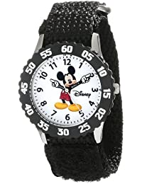 Kids' W000227 Mickey Mouse Stainless Steel Time Teacher Watch with Black Nylon Band