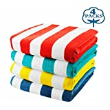 Exclusivo Mezcla 4-Pack 100% Cotton Cabana Striped Beach/Pool/Bath Towel(30'' x 60'')—Soft, Quick Dry, Lightweight, Absorbent and Plush