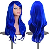 EmaxDesign Wigs 28 inch Wavy Curly Cosplay Wig With Free Wig Cap and Comb (Dark Blue)