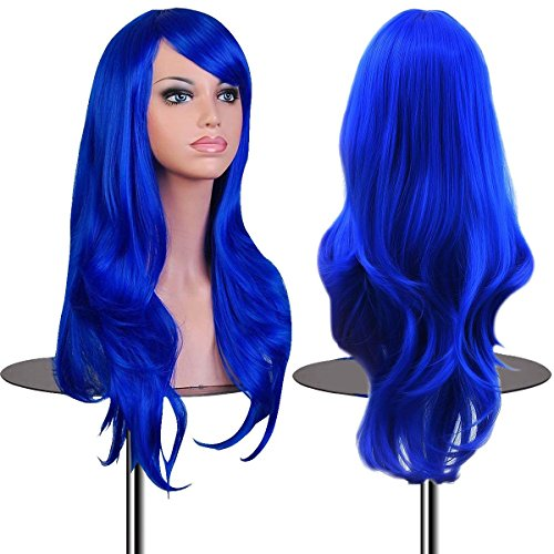 [EmaxDesign Wigs 28 Inch Cosplay Wig For Women With Wig Cap and Comb(Dark Blue)] (Blue Wigs For Women)