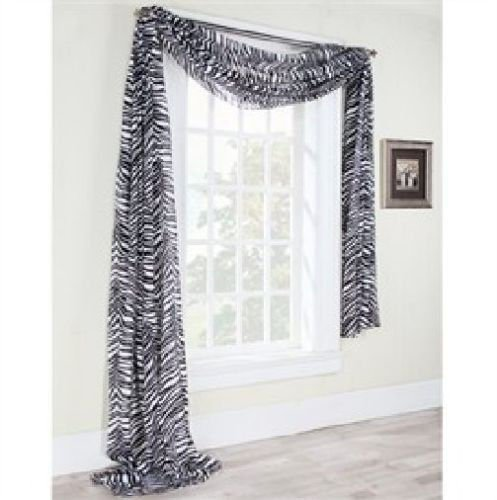 - Gorgeous Home 1 PC PRINTED ZEBRA GRAYISH SCARF VALANCE SOFT SHEER VOILE WINDOW PANEL CURTAIN 216