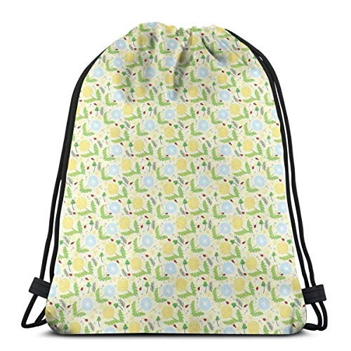 2019 Funny Printed Drawstring Backpacks Bags,Composition Of Blowballs Ladybugs And Leaves Colorful Lively Spring Season Nature,Adjustable String Closure ()