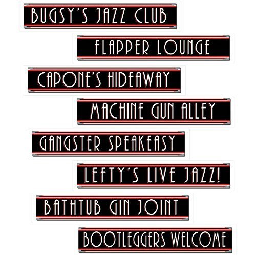 musykrafties 8-Pack Roaring 20's Gangster and Flapper Girl Street Sign Cutouts Red and White