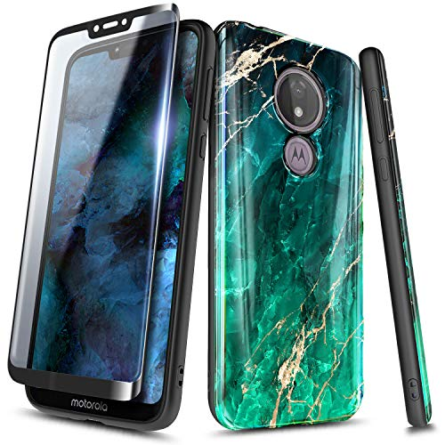 NageBee Case for Motorola Moto E5 (XT1920DL) /Moto G6 Play/Moto G6 Forge with Tempered Glass Screen Protector (Full Coverage), Ultra Slim Thin Glossy Stylish Protective Cover Phone Case -Emerald