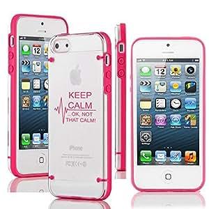 "Apple iPhone 6 Plus (5.5"") Ultra Thin Transparent Clear Hard TPU Case Cover Keep Calm Ok Not That Calm Nurse Paramedic Medical EKG (Hot Pink) by icecream design"