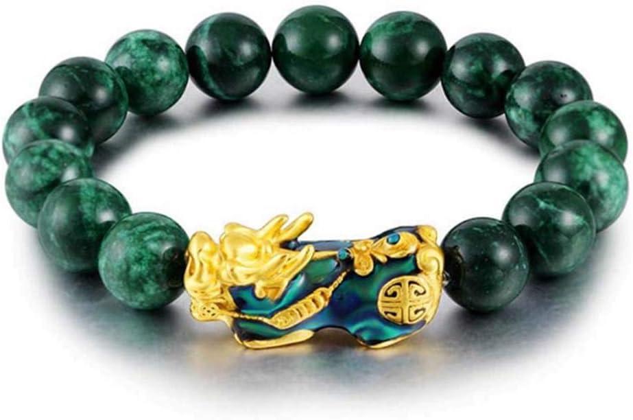 CerisiaAnn - Pulsera de Jade Verde auténtico, Piedra Dorada pixiu para Hombre, Cambia de Color, 12 mm