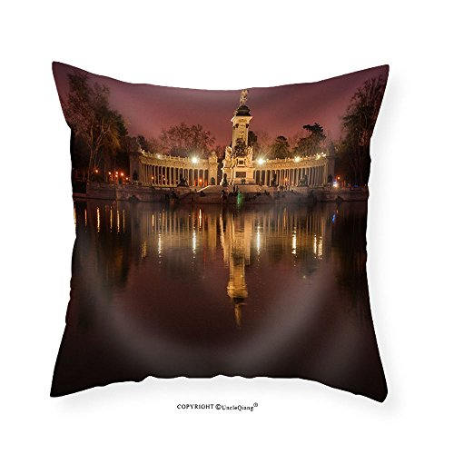 VROSELV Custom Cotton Linen Pillowcase Night Cityscape with Lights at Retiro Madrid Spain - Fabric Home Decor 12''x12'' by VROSELV