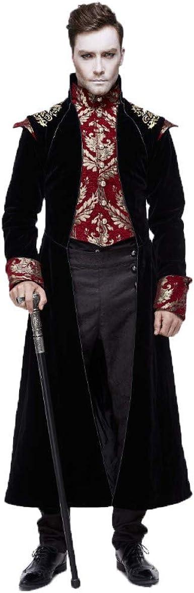 Devil Fashion Vintage Gothic Palace Vampire Men/'s Jacquard Dovetail Overcoat