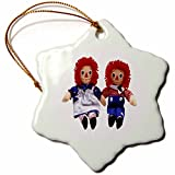 3dRose Antique Red Blue Dolls - Snowflake Ornament, Porcelain, 3-inch (orn_33389_1)