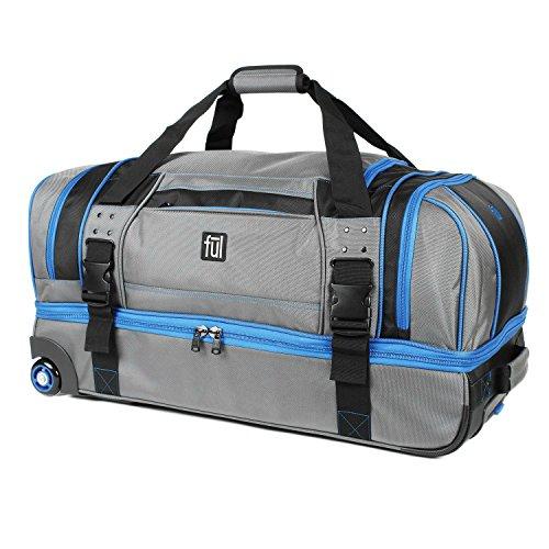 streamline-30in-soft-rolling-duffel-bag-retractable-pull-handle-split-level-storage-grey