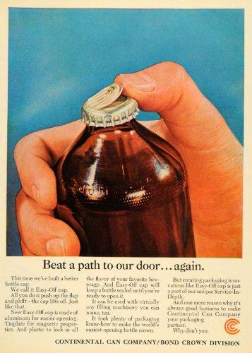 1964 Ad Continental Can Co. Crown Division Easy Off Cap - Original Print - Print Crown Cap