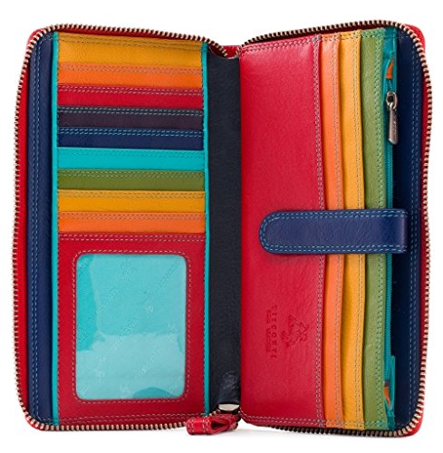 Visconti Multi Colored Soft Leather Ladies Wallet Purse Clutch -Spectrum 33 (Black Multi)