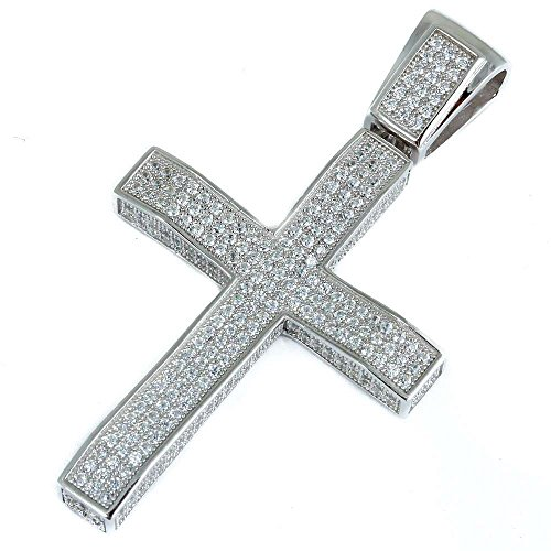 Heavy Hip Hop 3.5CT Micro Pave Cubic Zirconia Cross .925 Sterling Silver Pendant 2.35'' by Oxford Diamond Co