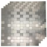 backsplash for kitchen  5 Piece Peel and Stick Tile Metal Backsplash for Kitchen, Silver Aluminum Surface