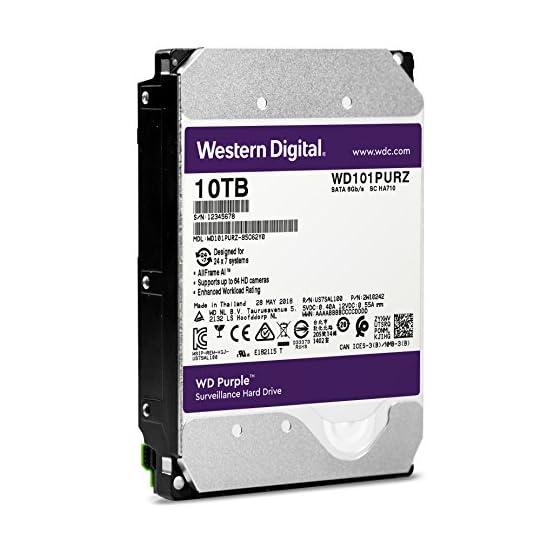 """WD Purple 10TB Surveillance Hard Drive - 7200 RPM Class, SATA 6 Gb/s, 256 MB Cache, 3.5"""" - WD101PURZ 516ck5tl3QL. SS555"""