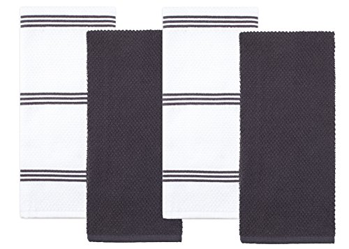 Kitchen Towels 2 Dish (Sticky Toffee Cotton Terry Kitchen Dish Towel, Gray, 4 Pack, 28 in x 16 in)