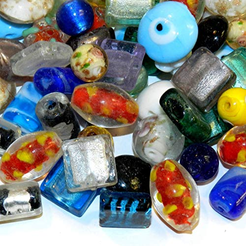 Assorted Size, Shape Color 10mm - 20mm Lampwork Glass Beads 16-Ounce
