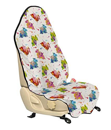Lunarable Dragon Car Seat Hoody, Lively Colored Cartoon Dragons Large Nostrils Among Pixie Dust Colorful Stars, Car Truck Seat Cover Protector Nonslip Backing Universal Fit, Multicolor