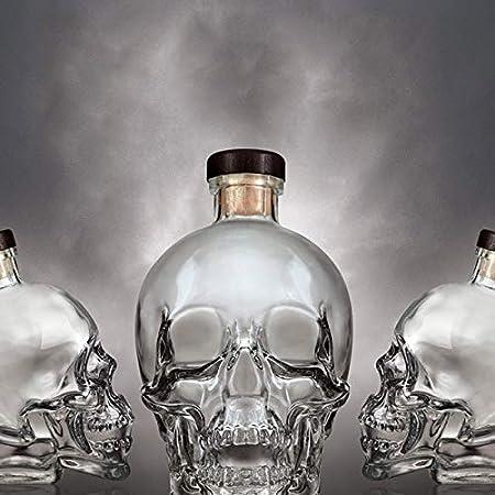 GAOXIAOMEI Decantador De Whisky Decantador De Vino con Forma De Calavera Decantador De Licor Pequeño con Esqueleto De Cristal con Corcho - para Licor, Whisky, Bourbon O Vodka - 400 Ml