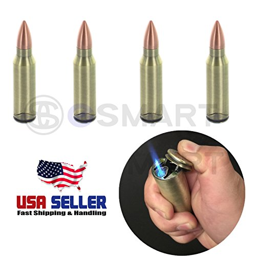 eSc Durable Quality Novelty Cool Gun Bullet Butane Refillable Metal Bullet Lighter (4)