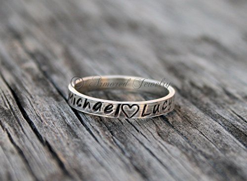 Personalized Stackable Rings Style #2 - Customizable Name Jewelry - Stacker Stacking Rings - Wedding Band Ring - Mother Daughter Jewelry