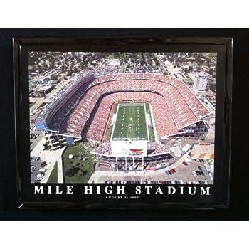 Denver Broncos Old Mile High Stadium Aerial Photo Framed